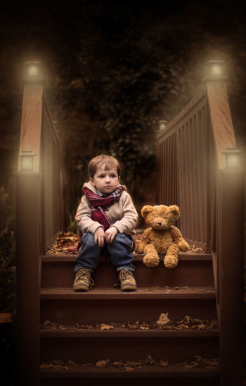Little baby boy with teddy bear at night mobile wallpaper