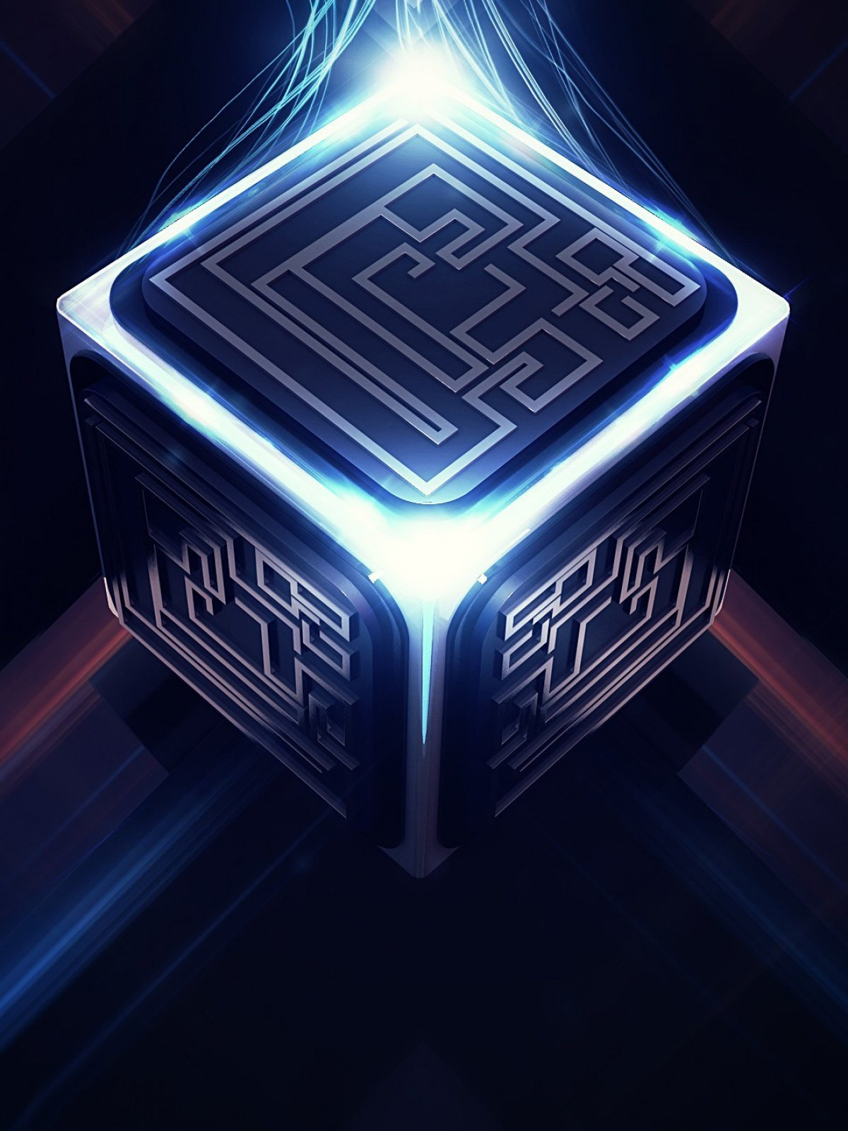 Abstract Cubes blue light mobile wallpaper - The Mobile